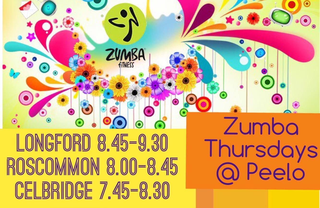 Zumba Thursdays @ Peelo €7 pay as you go or €5 if your child attends Peelo, it's great fun and a great way to exercise and keep fit....come along and give it a go Make sure to like our Zumba pages to keep up to date with class schedules and Zumba deals Celbrige Zumba: https://www.facebook.com/Zumba-at-Peelo-Studios-Celbridge-276142872724554/?fref=ts Longford & Roscommon Zumba: https://www.facebook.com/Zumba-with-The-Peelo-school-of-Dance-322341137958216/?fref=ts